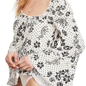Free People One on One Date Floral Ivory Bodysuit